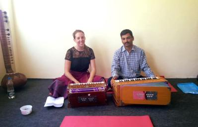 Studying Harmonium and Voice in Rishikesh